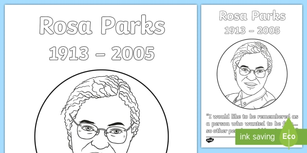 rosa parks colouring page black history civil rights movement racism 1950s - Rosa Parks Coloring Page