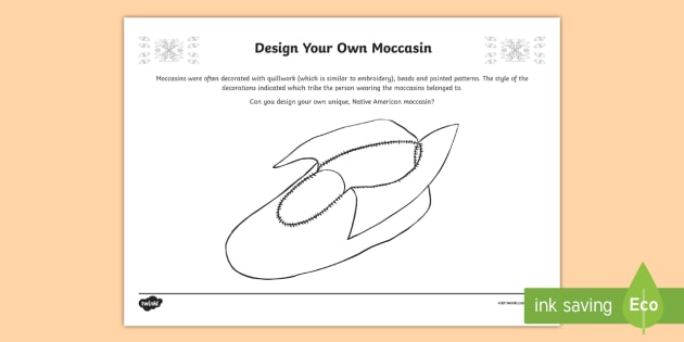 Native Americans Design Your Own Moccasin Worksheet / Activity Sheet-Scottish - Native Americans, design challenge, footwear, moccasins ,Scottish, worksheet