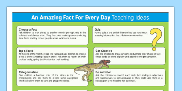 An Amazing Fact a Day Teaching Ideas - research, prompts, facts, factoids, trivia, did you know