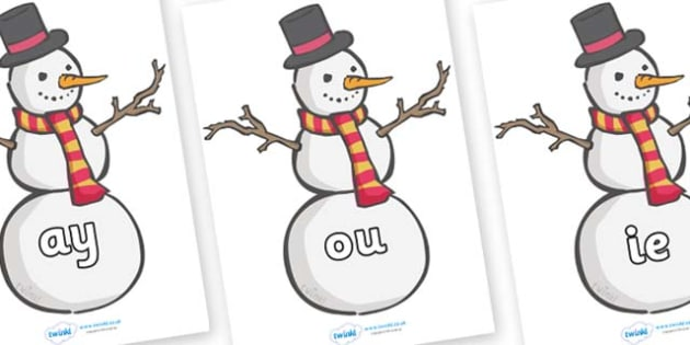 Phase 5 Phonemes on Snowmen - Phonemes, phoneme, Phase 5, Phase five, Foundation, Literacy, Letters and Sounds, DfES, display