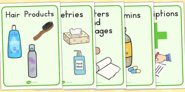 Pharmacy Role Play Signs - medicine, health, visual, medicines