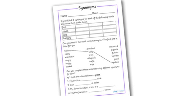 Synonym Activity Worksheet - synonym activity worksheet