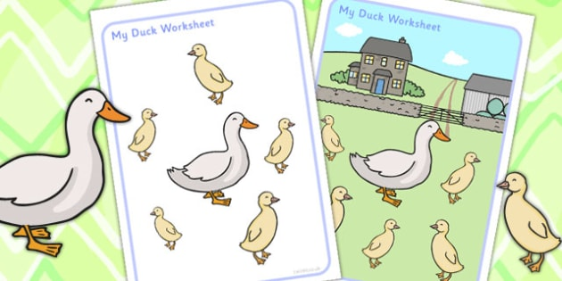 Multi Purpose Duck Work Sheet - ducks, animals, farm, farmyard