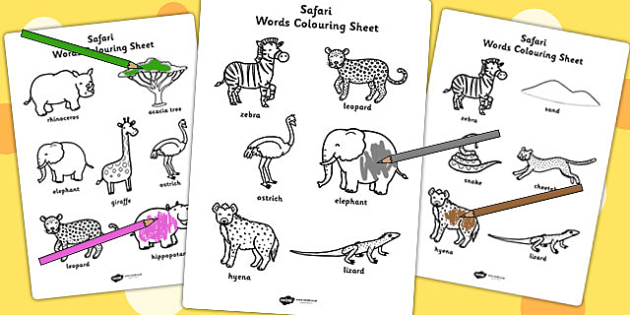 Safari Words Colouring Activity Sheets- jungle, animals, motor skills