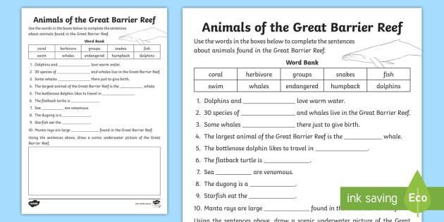Fantastic Great Barrier Reef Cloze Worksheet / Activity Sheet - Australian YD06