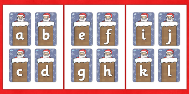 Father Christmas Flashcards (A-Z) - A-Z, xmas, christmas, flashcards, cards, activity, A-Z letters, Alphabet flashcards