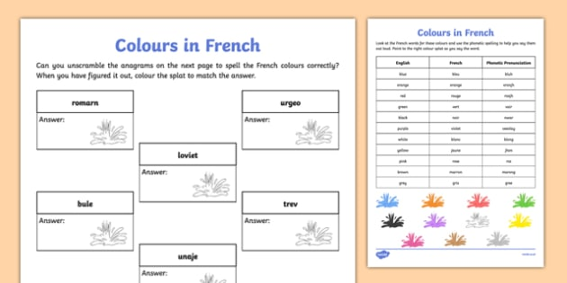 french colours worksheet activity sheet french colours. Black Bedroom Furniture Sets. Home Design Ideas