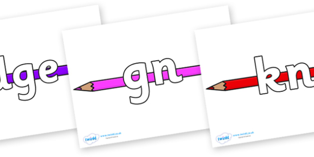 Silent Letters on Pencil Crayon - Silent Letters, silent letter, letter blend, consonant, consonants, digraph, trigraph, A-Z letters, literacy, alphabet, letters, alternative sounds