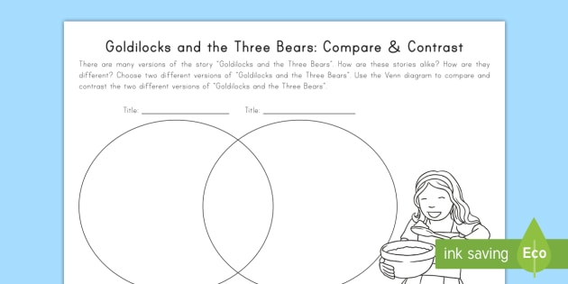 Goldilocks and the three bears compare and contrast worksheet goldilocks and the three bears compare and contrast worksheet activity sheet goldilocks use this venn diagram ccuart Image collections