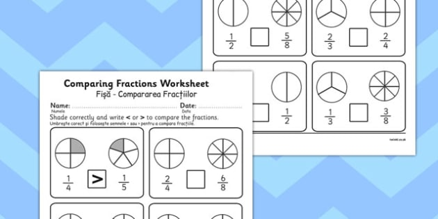 Comparing Fractions Worksheet Romanian Translation - romanian