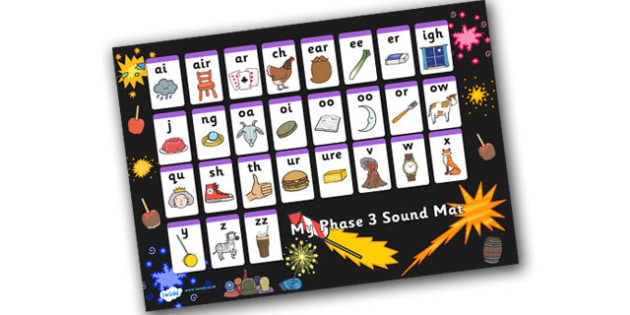 Bonfire Night Firework Themed Phase 3 Sound Mat - bonfire night, firework, phase 3, phase three, sounds, sound mat, letters and sounds, phonics, phonemes