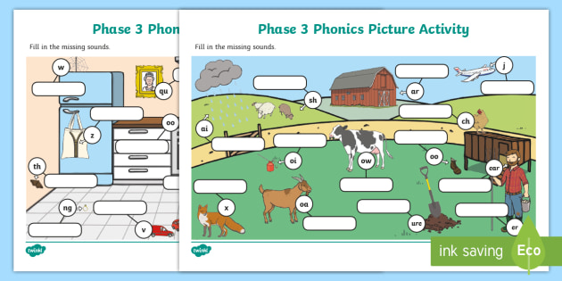 Phase 3 Phonics Picture Activity Sheets Teacher Made