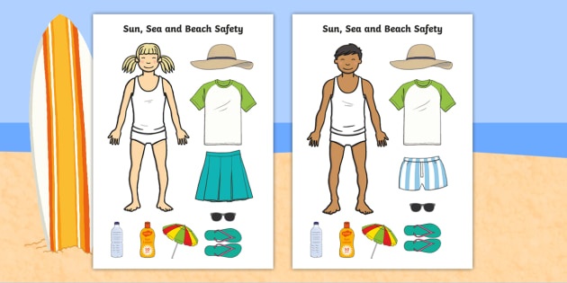 Sun, Sea and Beach Safety Cut out Worksheet / Activity Sheet