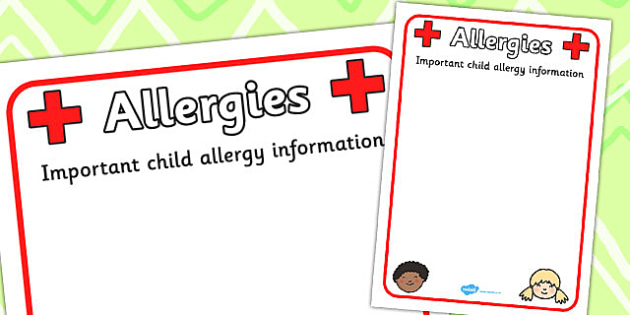 Pupil Allergy Information Poster - allergy, allergy information, allergies, pupil information, pupils, poster, sign, sheet, display
