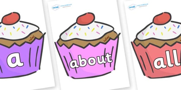 100 High Frequency Words on Cupcakes - High frequency words, hfw, DfES Letters and Sounds, Letters and Sounds, display words