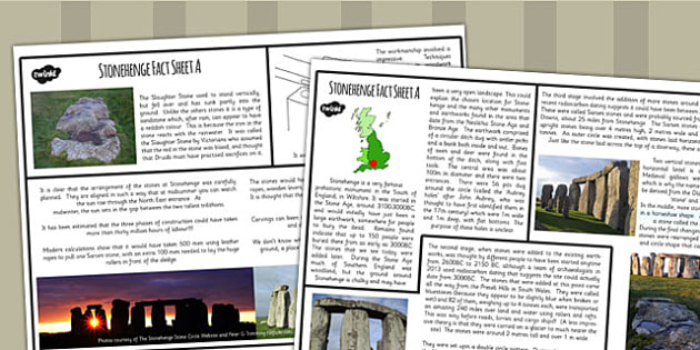 Stonehenge Differentiated Fact File Pack - stonehenge, fact, pack