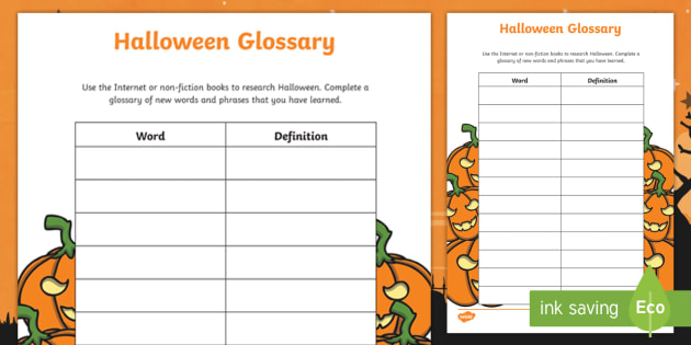 Halloween Glossary Worksheet / Worksheet   Words, Vocabulary ...