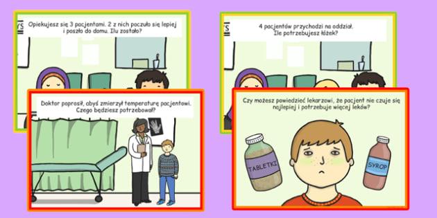 Karty ze słownictwem Szpital po polsku - lekarz, doktor