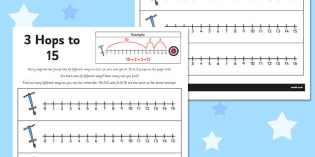 3 Hops to 15 Activity Sheet - number line, activity, 3 hops, 15, worksheet