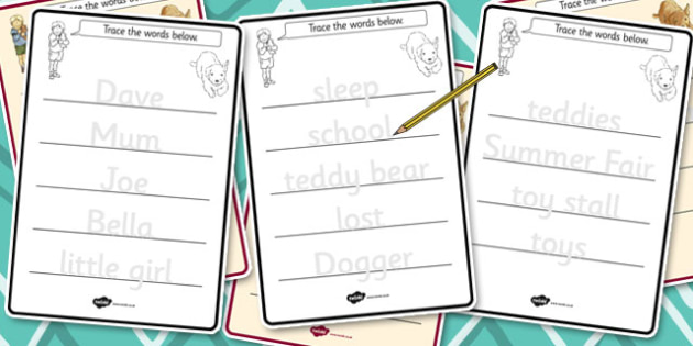 Trace the Words Worksheets to Support Teaching on Dogger - worksheet, word, dogger