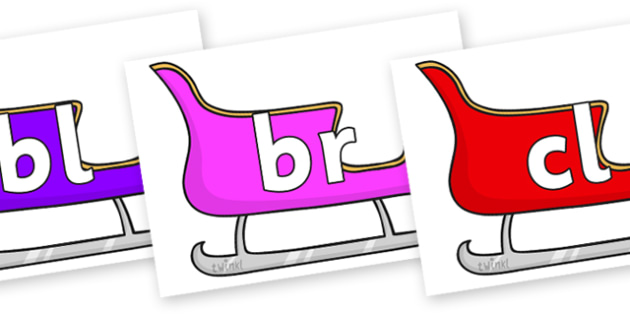 Initial Letter Blends on Sleighs (Multicolour) - Initial Letters, initial letter, letter blend, letter blends, consonant, consonants, digraph, trigraph, literacy, alphabet, letters, foundation stage literacy