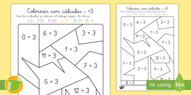 Ficha de actividad: Colorear con cálculos - x3 - multiplicar, mates, matemáticas, multiplciación, tablas de multiplicar, tabla de multiplicar, x3,