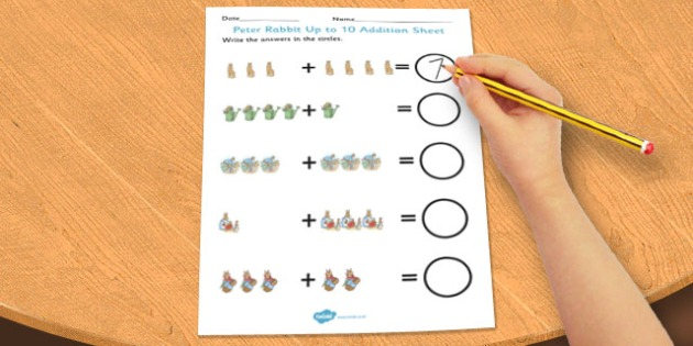 The Tale of Peter Rabbit Up to 10 Addition Sheet - addition, sheet