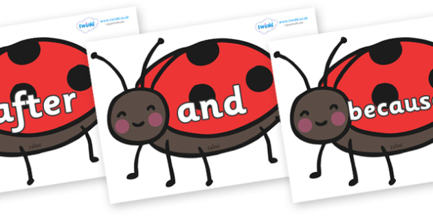 Connectives on Ladybirds - Connectives, VCOP, connective resources, connectives display words, connective displays