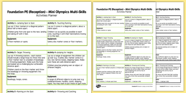 Foundation PE (Reception) Mini Olympics Multi-Skills Activities Planner - EYFS, PE, Physical Development