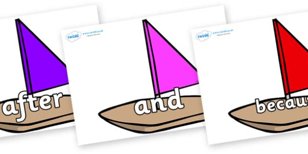 Connectives on Toy Boats - Connectives, VCOP, connective resources, connectives display words, connective displays