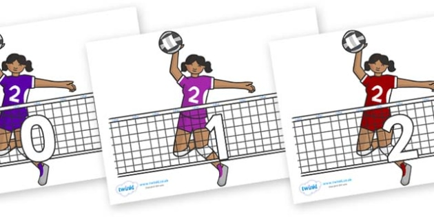 Numbers 0-50 on Volleyball - 0-50, foundation stage numeracy, Number recognition, Number flashcards, counting, number frieze, Display numbers, number posters