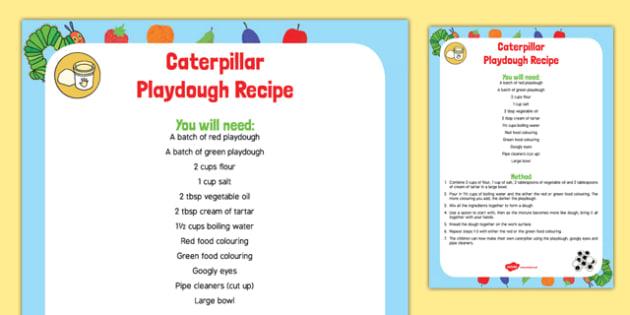Caterpillar Playdough Recipe to Support Teaching on The Very Hungry Caterpillar - Playdough malleable EYFS