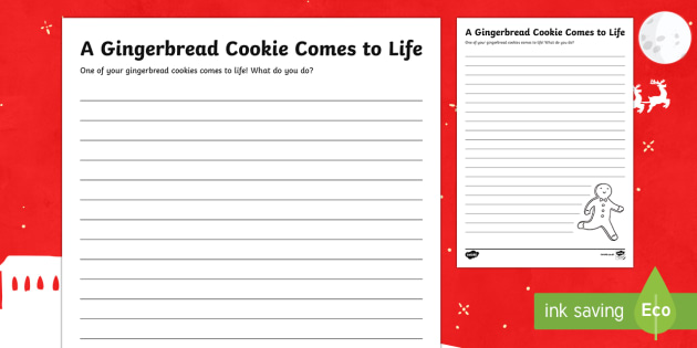 A Gingerbread Cookie Comes to Life Writing Activity Sheet