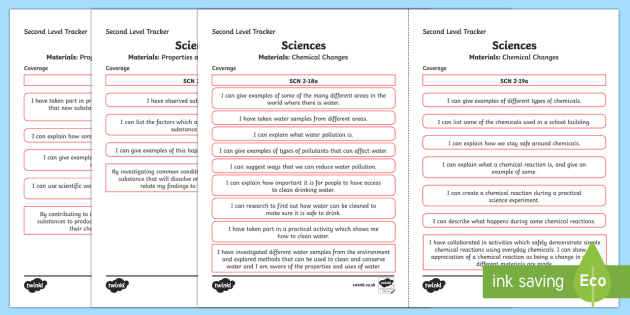 CfE Sciences (Materials) Second Level Child Friendly Tracking-Scottish