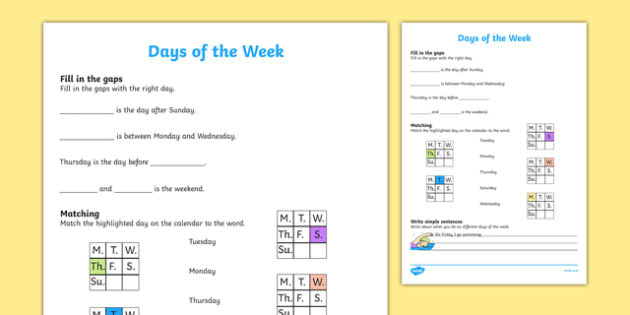 Days of the Week Activity Sheet, worksheet