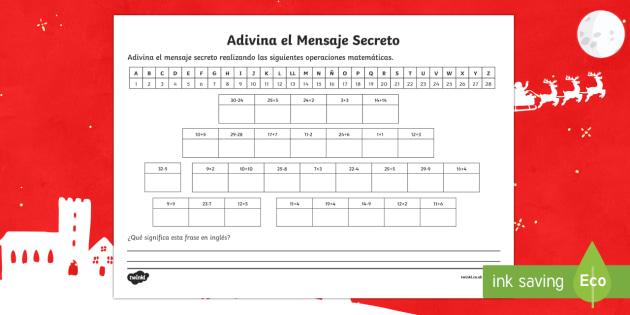Secret Christmas Message With Maths Activity Sheet