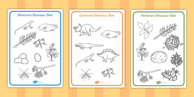 Dinosaur Diet Colouring Sheets - dinosaur, diet, colouring, sheet