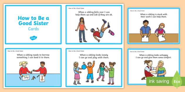 How To Be A Good Sister Cards - how to be, good, sister, cards, behaviour