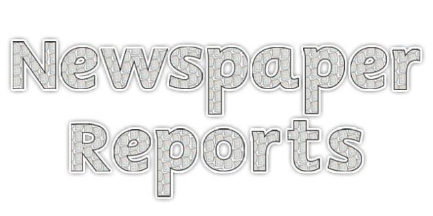 'Newspaper Reports' Display Lettering - newspaper reports, newspaper reports display lettering, newspaper display lettering, reports, reports display