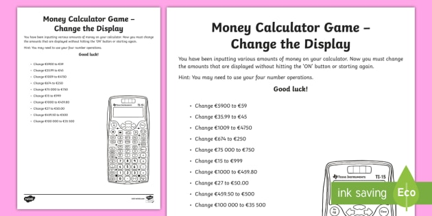 Money Calculator Game Change the Display Worksheet ...