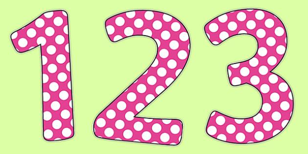 Polka Dot Dark Pink Display Numbers - polka dot, dark pink, display number, display, number