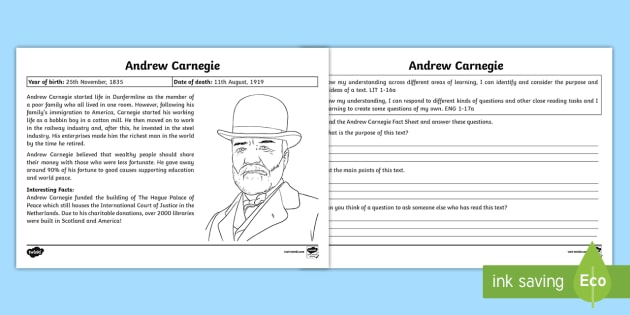 Andrew Carnegie Text Detective Worksheet - CfE Scottish Significant Individuals, text detective, main points, Andrew Carnegie, reading comprehe