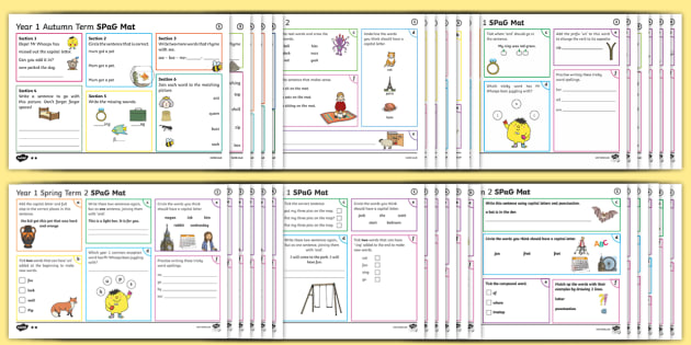Year 1 SPaG Activity Mats Pack - KS1, Key Stage 1, key stage one, year 1, Y1, year one, SPaG, spelling, punctuation, grammar, reading