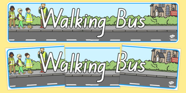 Walking Bus Display Banner NZ - nz, new zealand, Walking bus, safety, safe walking, good behaviour, display, banner, poster, sign