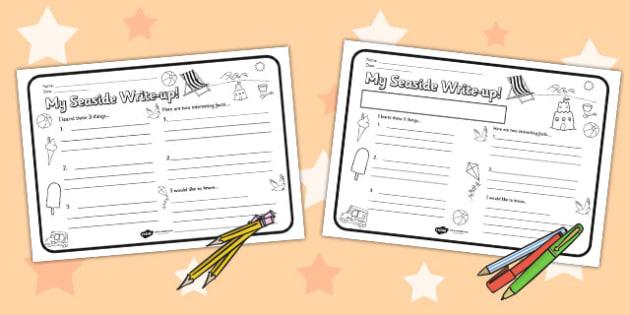 Seaside Themed Write Up Worksheet - seaside, writing template