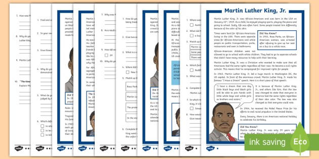 Higher Ability Martin Luther King Jr Differentiated Reading