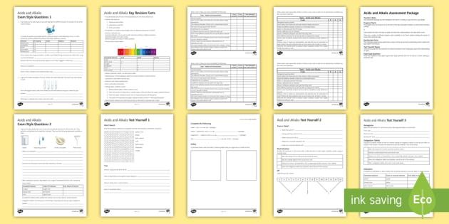 Acids and Alkalis Assessment Package - Assessment Package, acids , alkalis, neutralisation, pH scale, hydrochloric acid