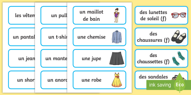french clothes vocabulary cards france languages ourselves. Black Bedroom Furniture Sets. Home Design Ideas