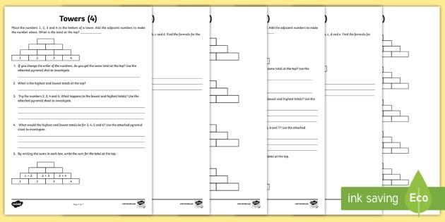 Towers Maths Investigation Worksheet / Activity Sheet