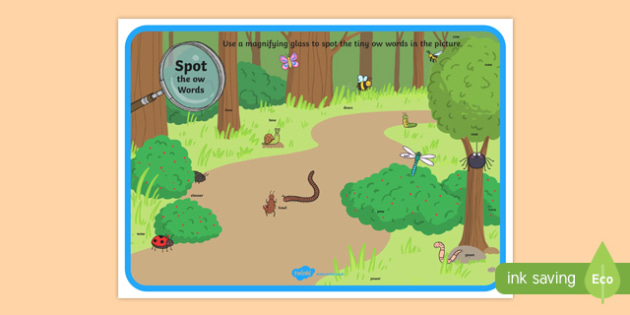Phase 3 ow Words Minibeasts Scene Magnifying Glass Activity Sheet, worksheet